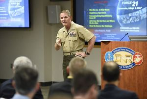 150827-N-PO203-039  ARLINGTON, Virginia (Aug. 27, 2015) Lt. Gen. Robert Walsh, commanding general of the Marine Corps Combat Development Command, discusses the operational need for amphibious high-water speed (AHWS) during the Office of Naval Research-hosted focus area forum on the topic, a critical priority for the U.S. Marine Corps. (U.S. Navy photo by John F. Williams/Released)